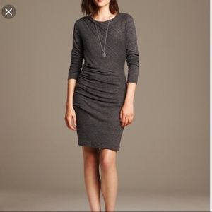 Banana republic Grey side ruched sweater dress.